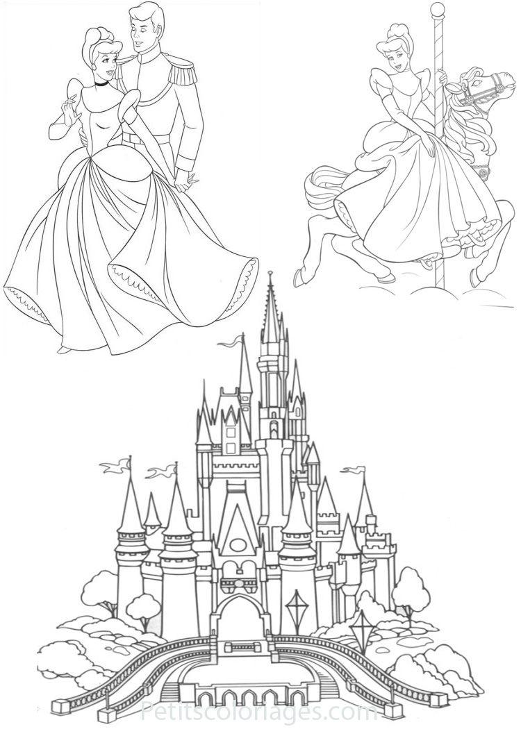 Petits Coloriages Cendrillon Chateau, Prince, Manege encequiconcerne Chateau De Princesse Dessin