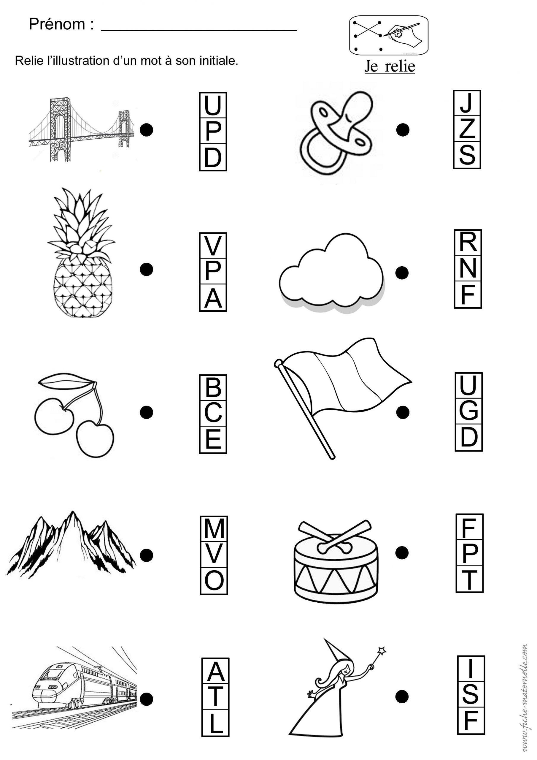 Phonologie : Trouver La Première Lettre D'un Mot Illustré avec Exercice Enfant 4 Ans