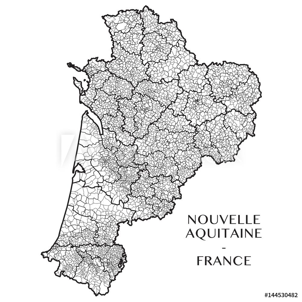 Photo & Art Print Detailed Map Of The Region Of Nouvelle serapportantà Nouvelle Region France