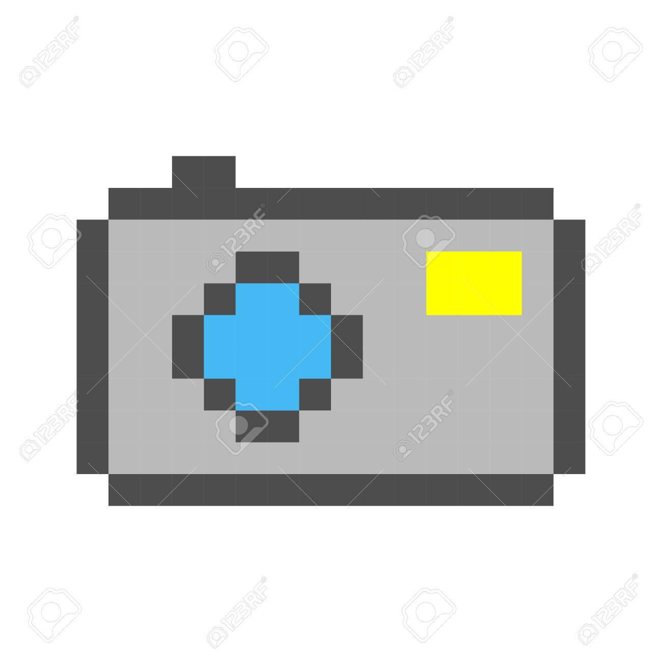 Photo Caméra Pixel Art Dessin Animé Rétro Style De Jeu avec Jeux Dessin Pixel