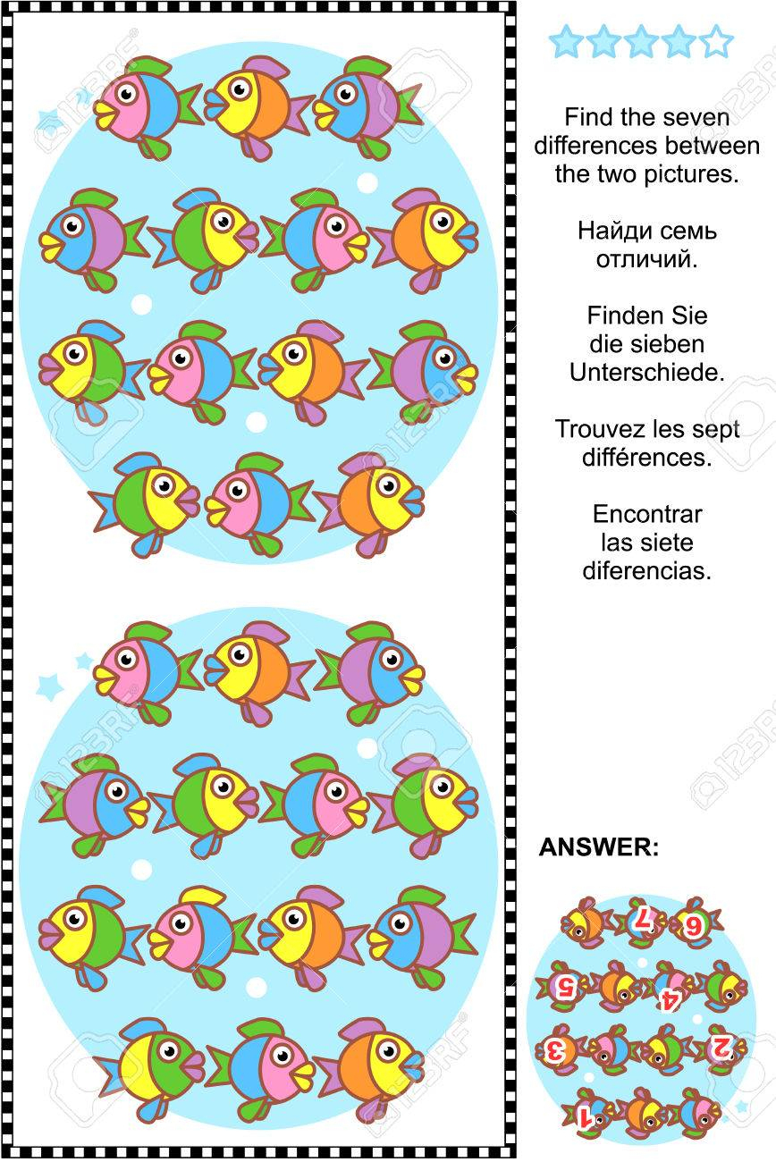 Picture Puzzle: Find The Seven Differences Between The Two Pictures Of Cute  Colorful Little Fish. Answer Included. tout Les 5 Differences