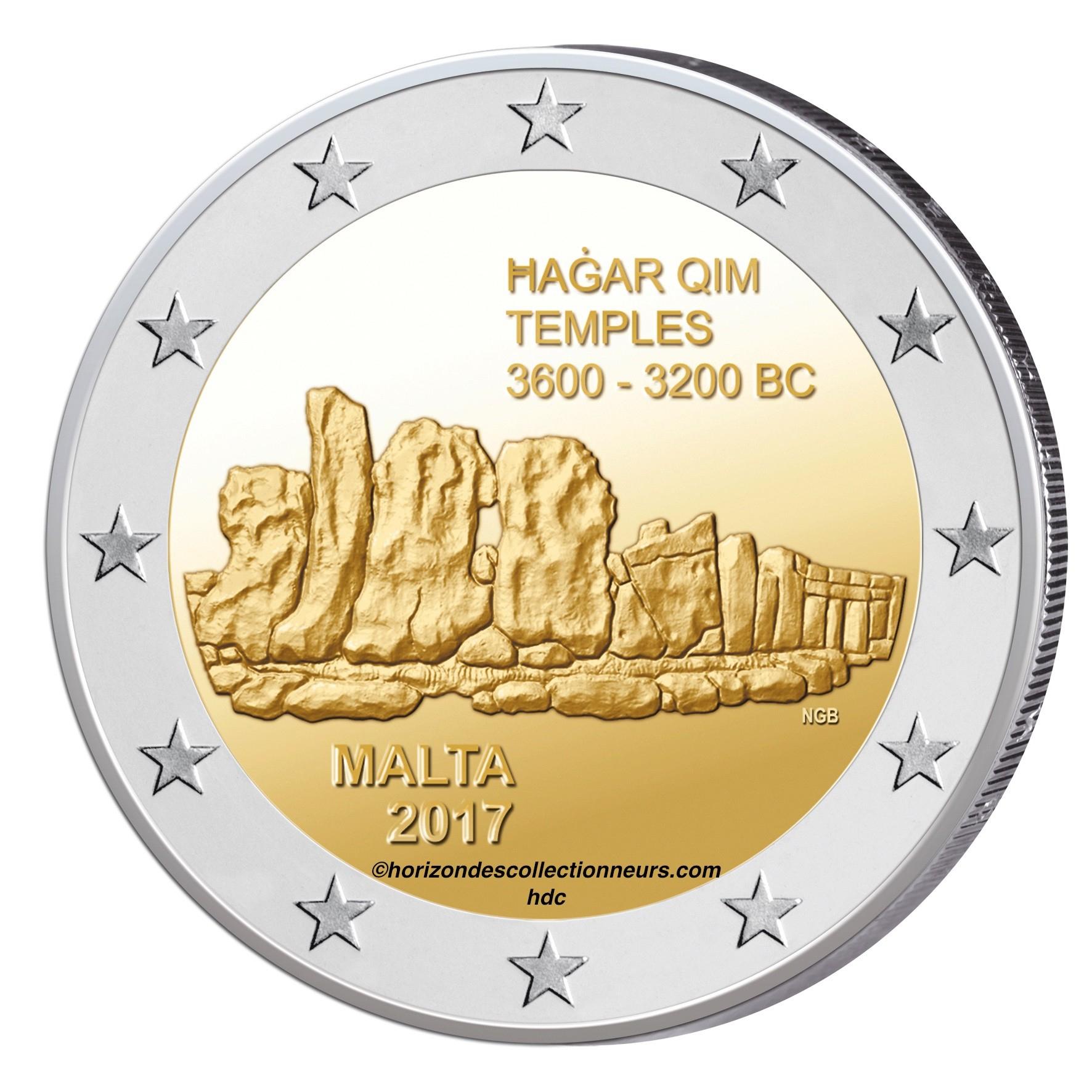 Pièce 2 € Commémorative Malte2017 Temple Hagar Qim-Monnaies Euros De 2€ tout Pieces Et Billets Euros À Imprimer