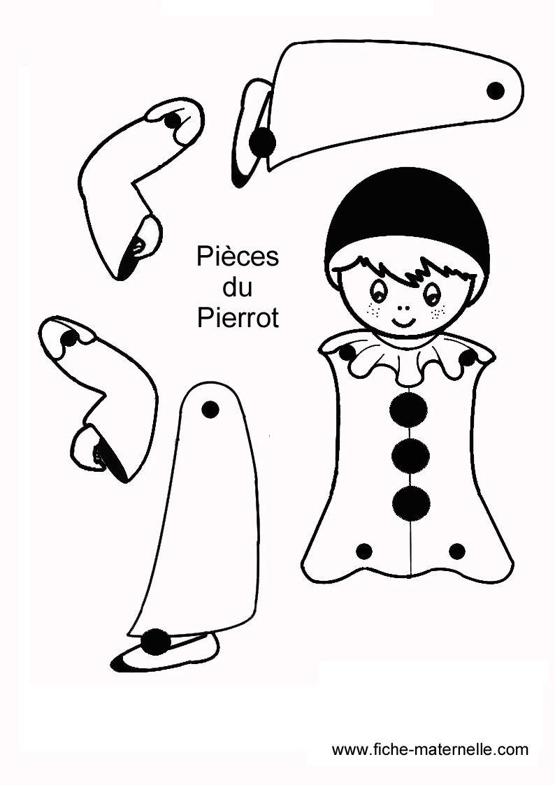 Pierrot | Pantin Articulé, Pantin, Bricolage Carnaval pour Coloriage Pantin