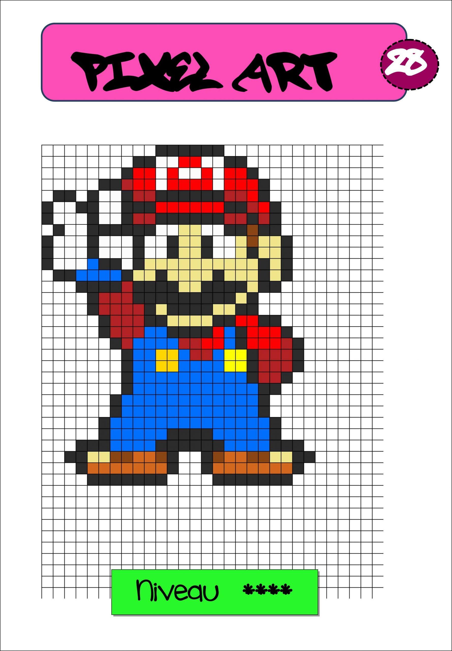 Pixel Art Autonomie Reproduction Sur Quadrillage | Pixel Art dedans Pixel A Colorier
