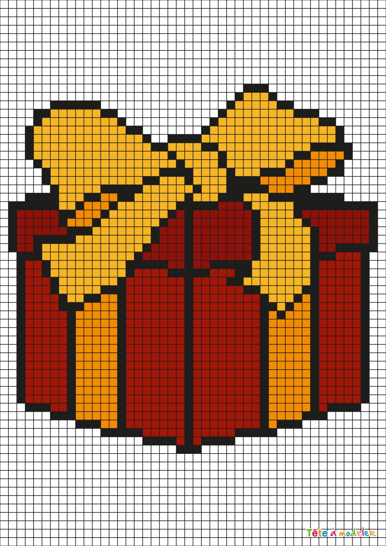 Pixel Art Cadeau De Noël Par Tête À Modeler dedans Pixel Art Pere Noel