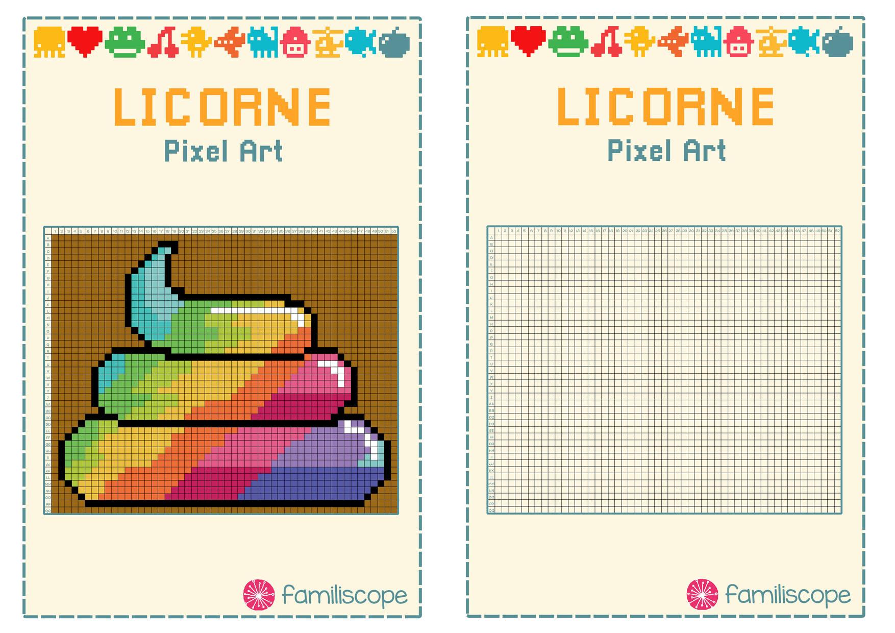 Pixel Art Crotte Arc-En-Ciel De Licorne tout Pixel A Colorier