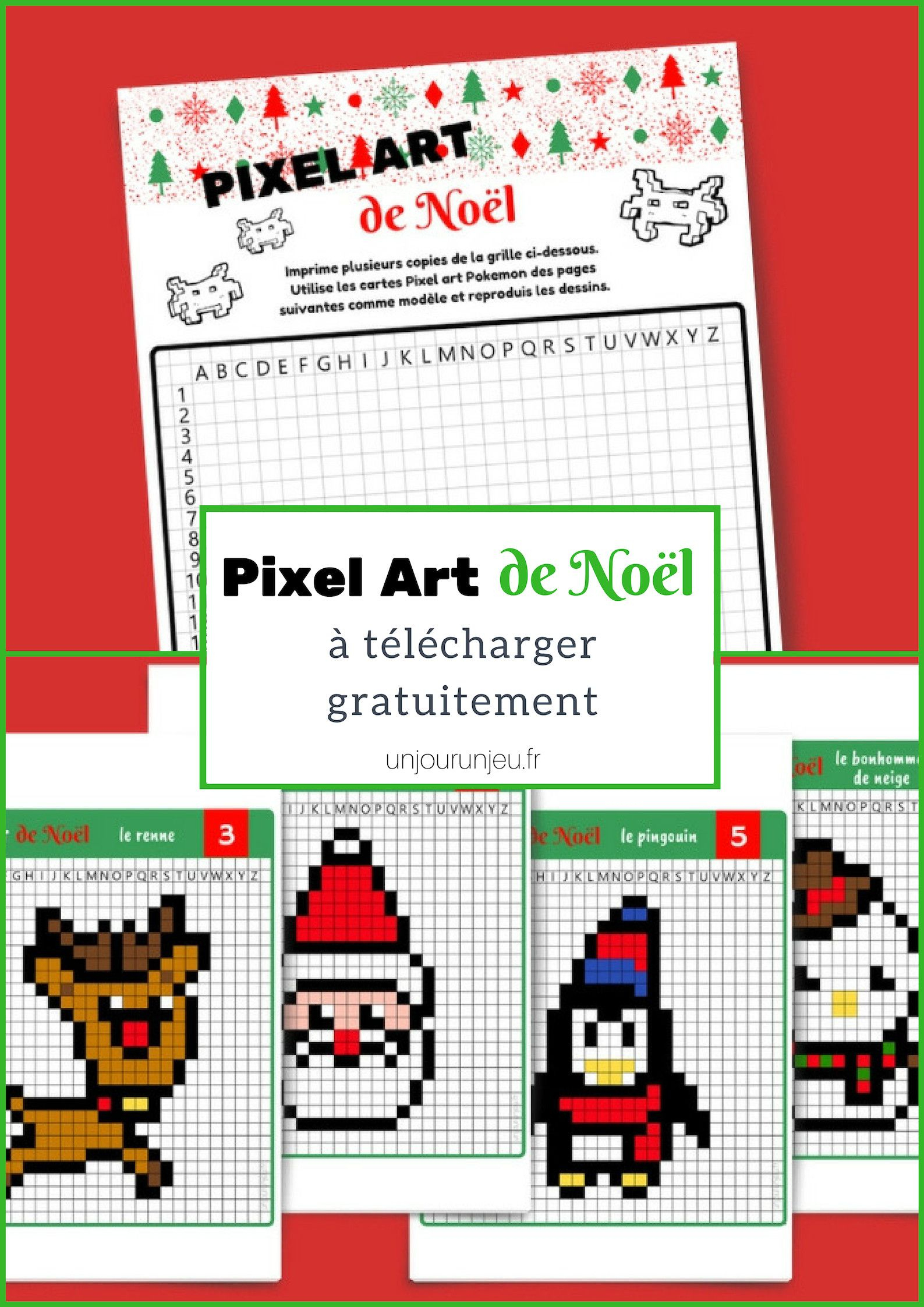 Pixel Art De Noël : 12 Modèles À Imprimer Gratuitement dedans Jeux De Dessin Pixel Art Gratuit
