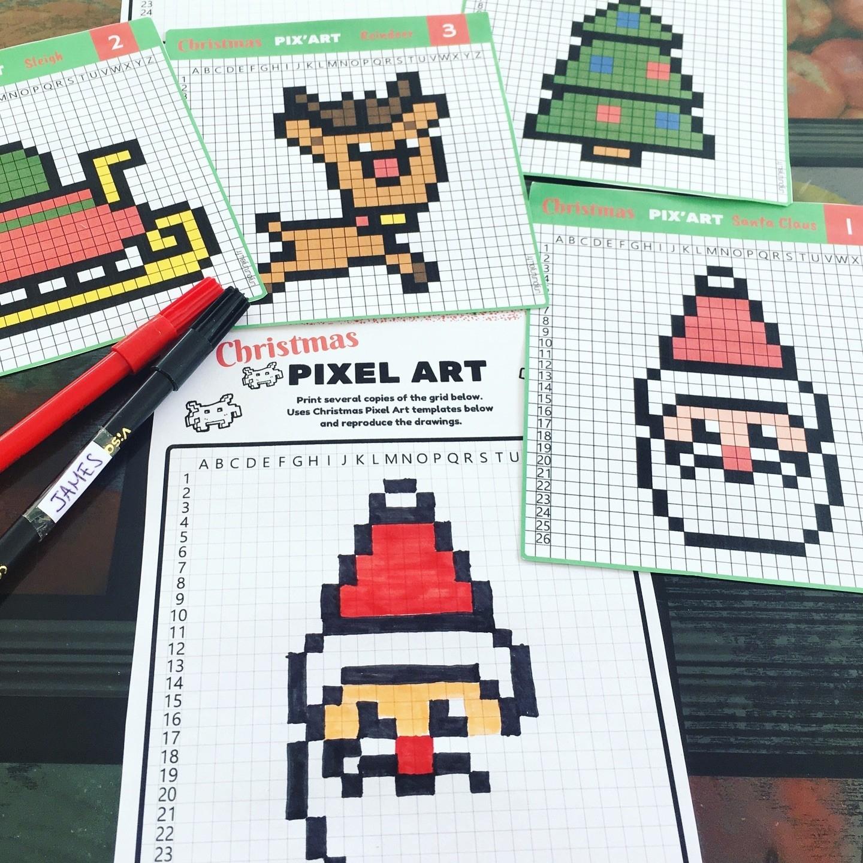 Pixel Art De Noël : 12 Modèles À Imprimer Gratuitement - Un serapportantà Pixel Art Pere Noel