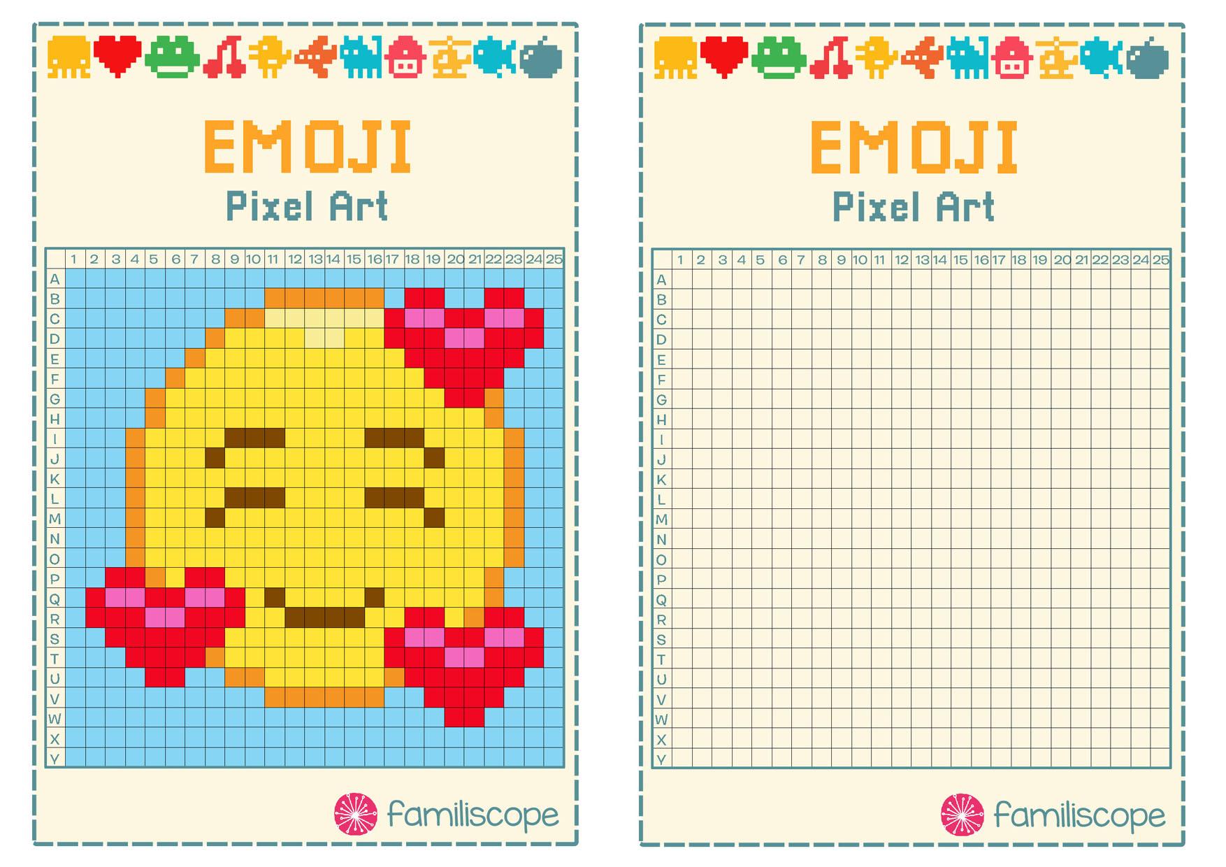Pixel Art Emoji Coeurs avec Pixel A Colorier