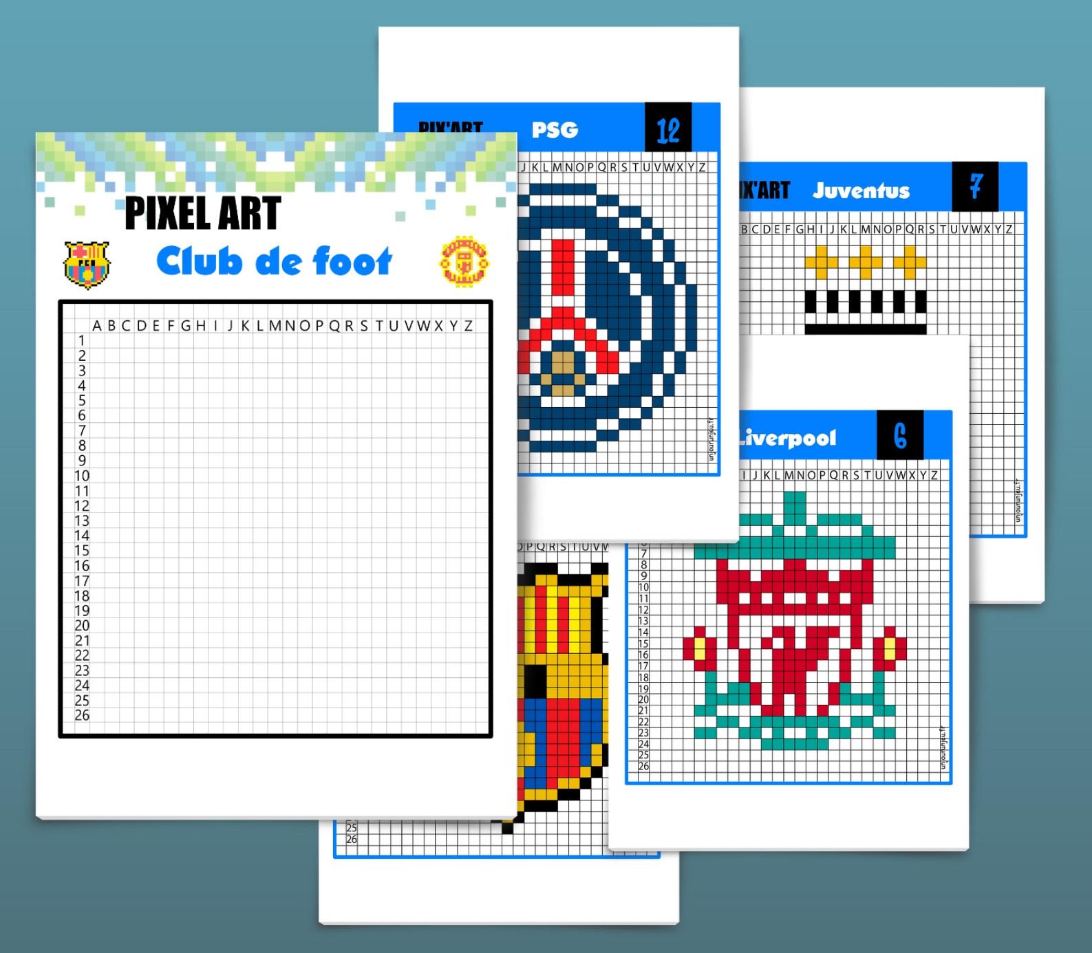 Pixel Art Football : 12 Logos De Club À Télécharger avec Modele Dessin Pixel