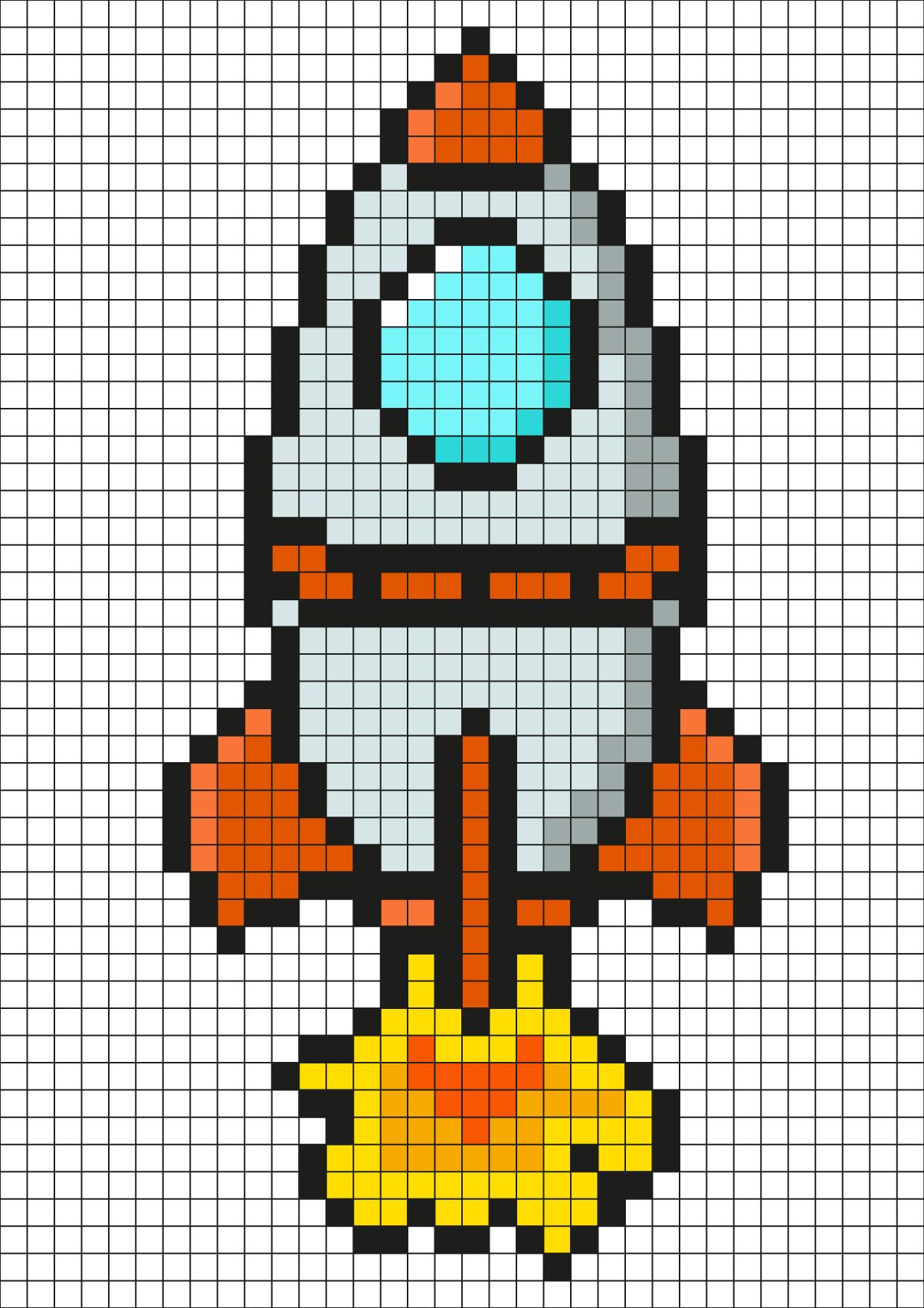 Pixel Art Fusée Par Tête À Modeler à Fusée À Imprimer