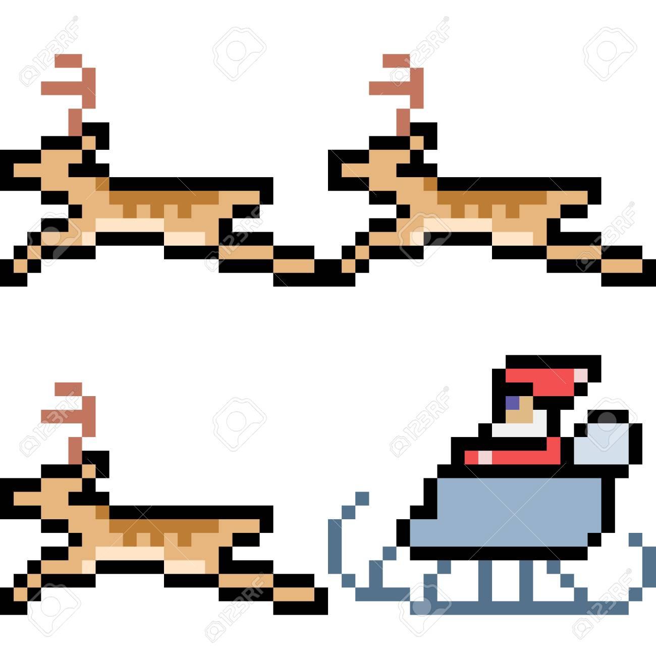 Pixel Art Illustration Du Père Noël Avec Des Rennes. destiné Pixel Art Pere Noel