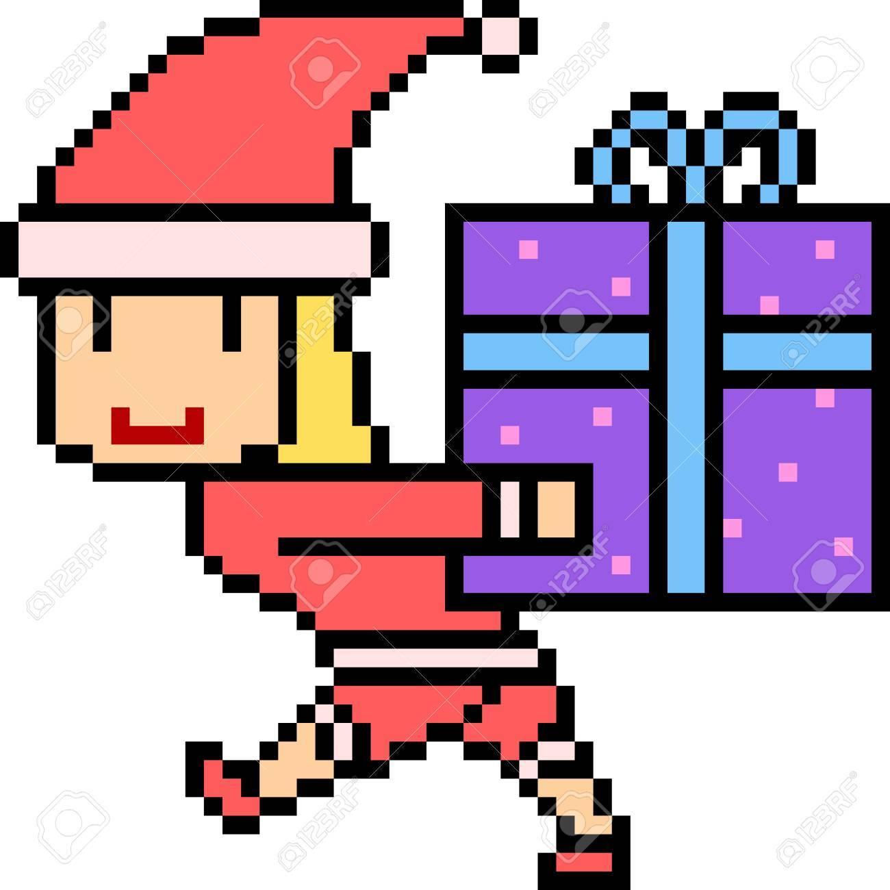 Pixel Art Illustration Du Père Noël Avec Une Boîte De Cadeau. pour Pixel Art Pere Noel