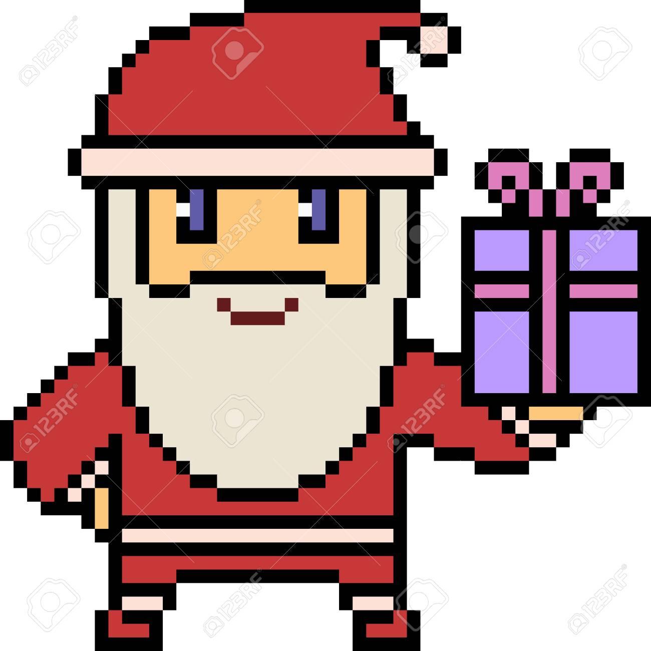 Pixel Art Illustration Of Santa Holding A Box Of Gift. dedans Pixel Art De Noël