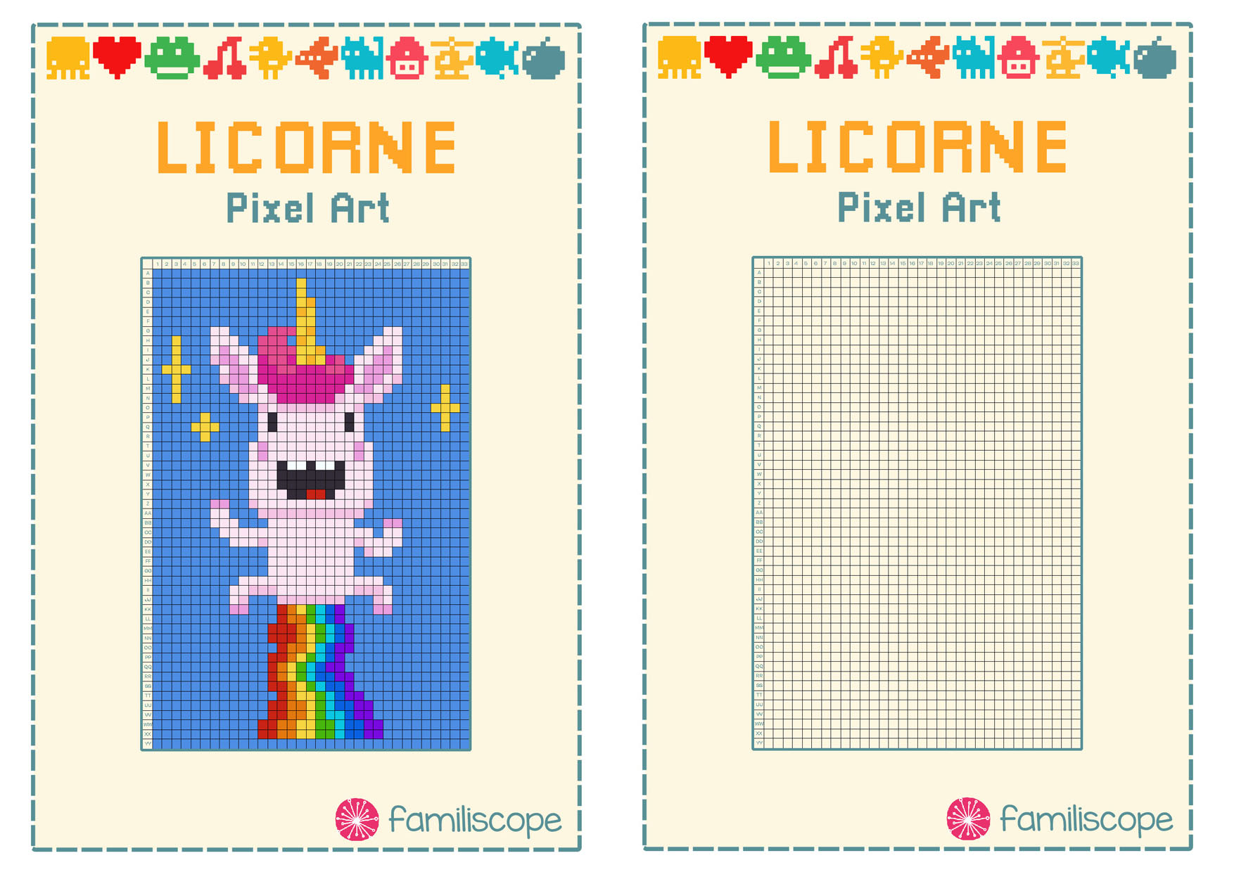 Pixel Art Licorne Arc-En-Ciel pour Pixel A Colorier