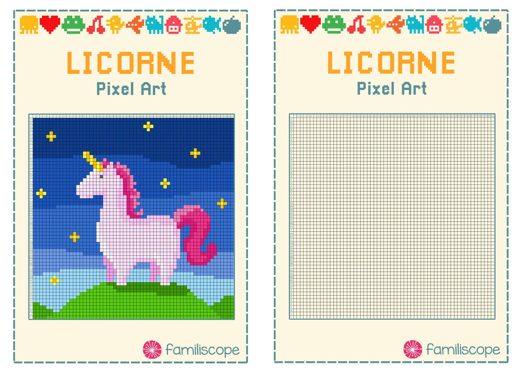 Pixel Art Licorne destiné Modele Dessin Pixel