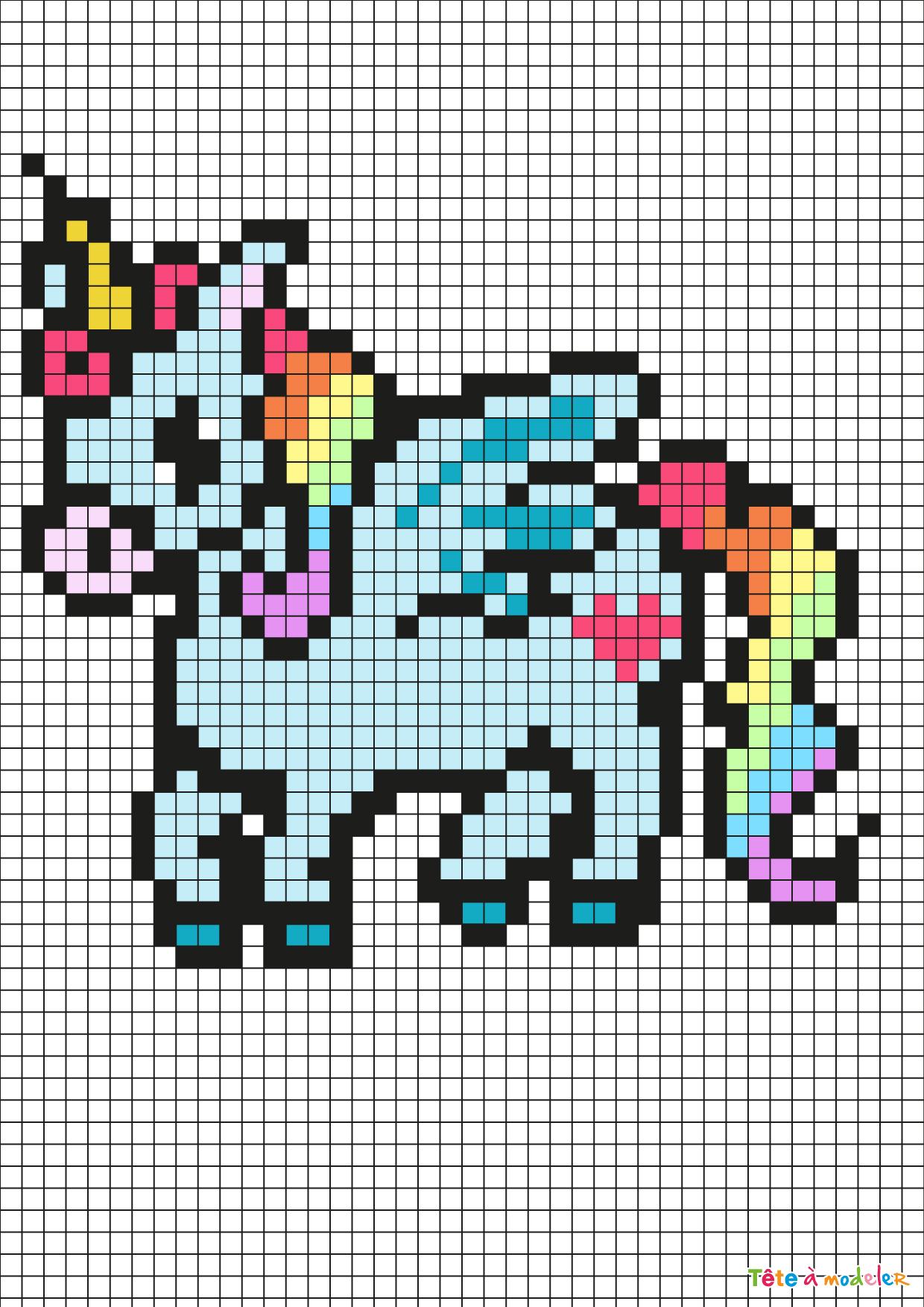 Pixel Art Licorne Par Tête À Modeler serapportantà Jeu De Coloriage Pixel