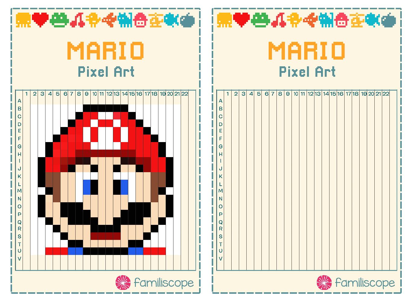 Pixel Art Mario à Pixel A Colorier