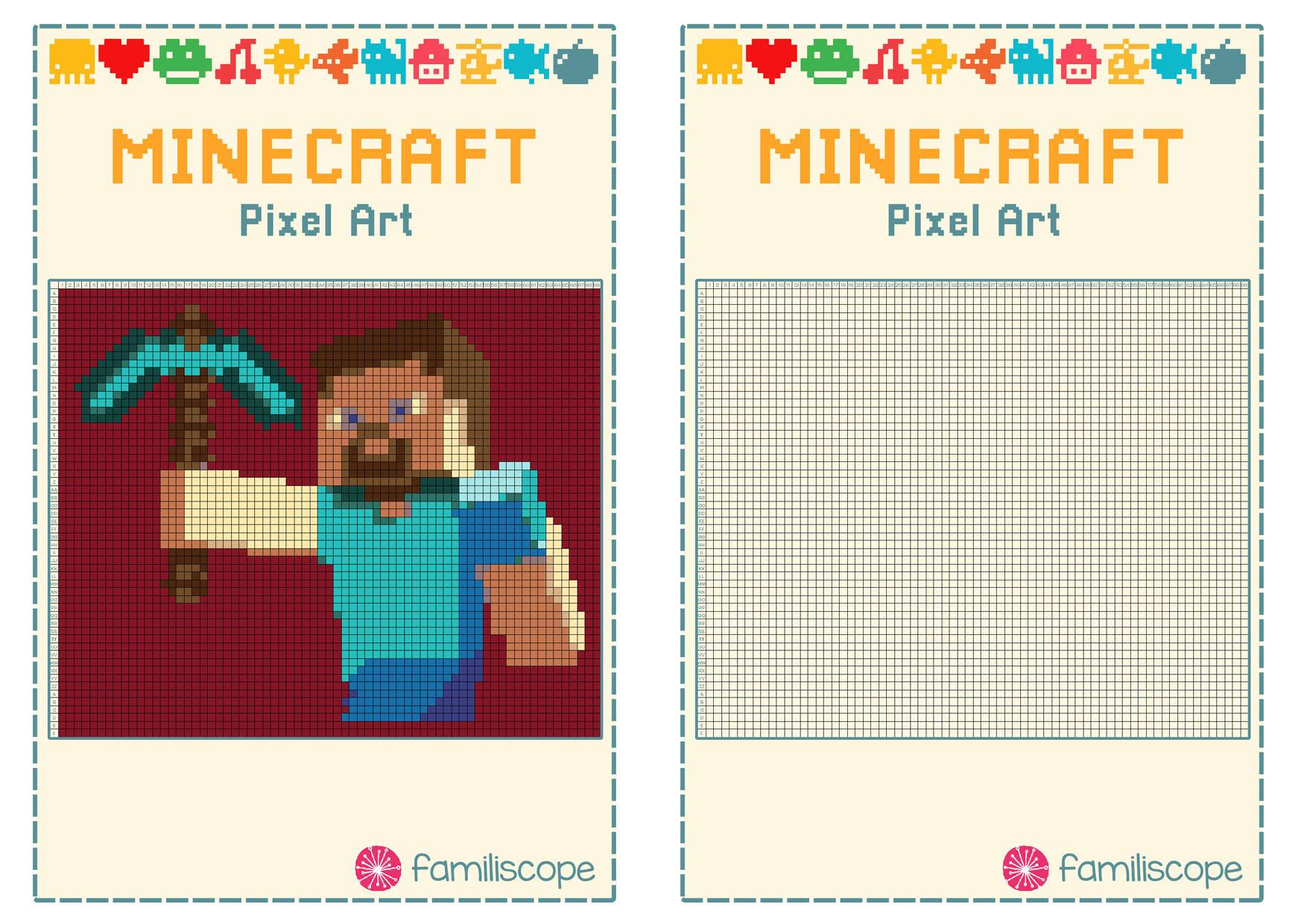 Pixel Art Minecraft : Steve à Jeu De Coloriage Pixel