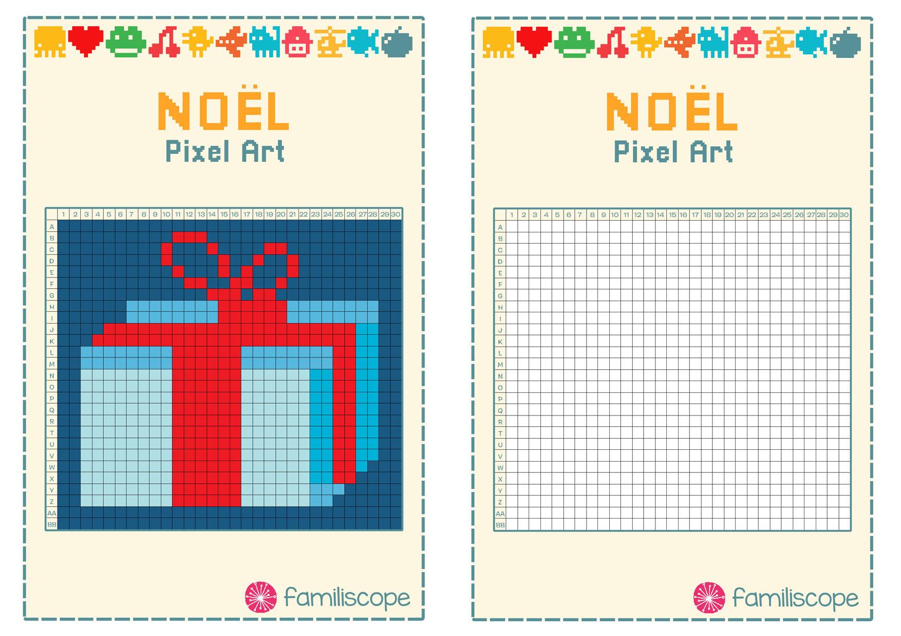Pixel Art Noël : Cadeau De Noël avec Pixel A Colorier
