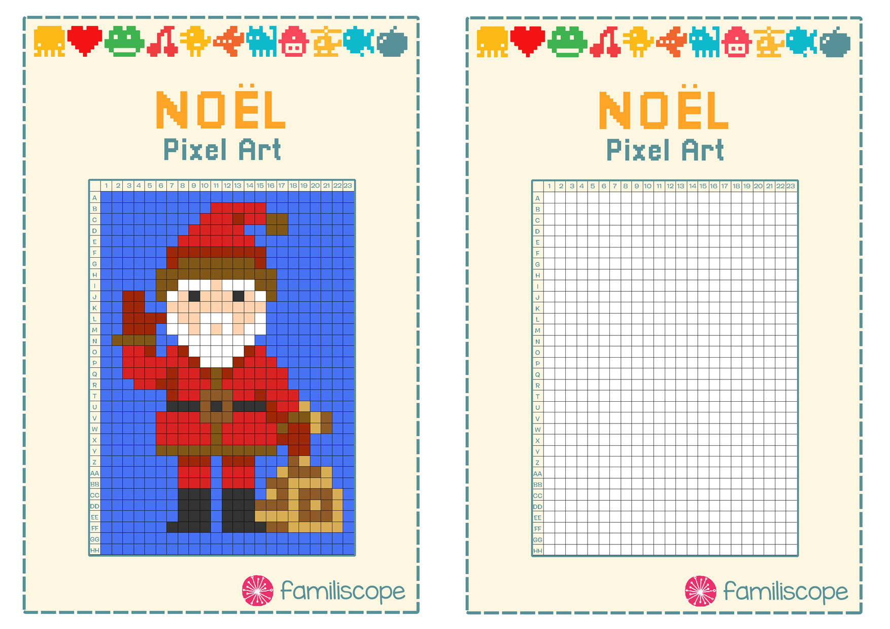 Pixel Art Noël : Père Noël destiné Pixel Art Pere Noel