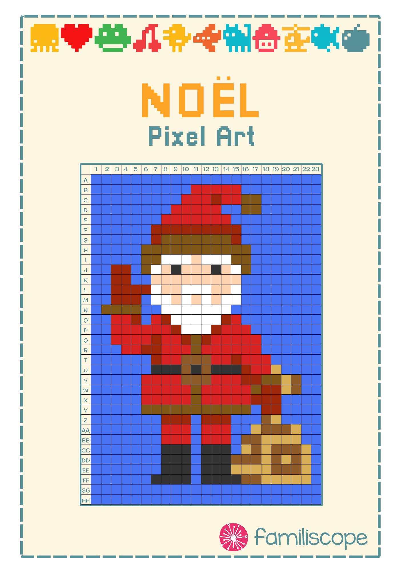 Pixel Art Noël : Père Noël serapportantà Pixel Art Pere Noel