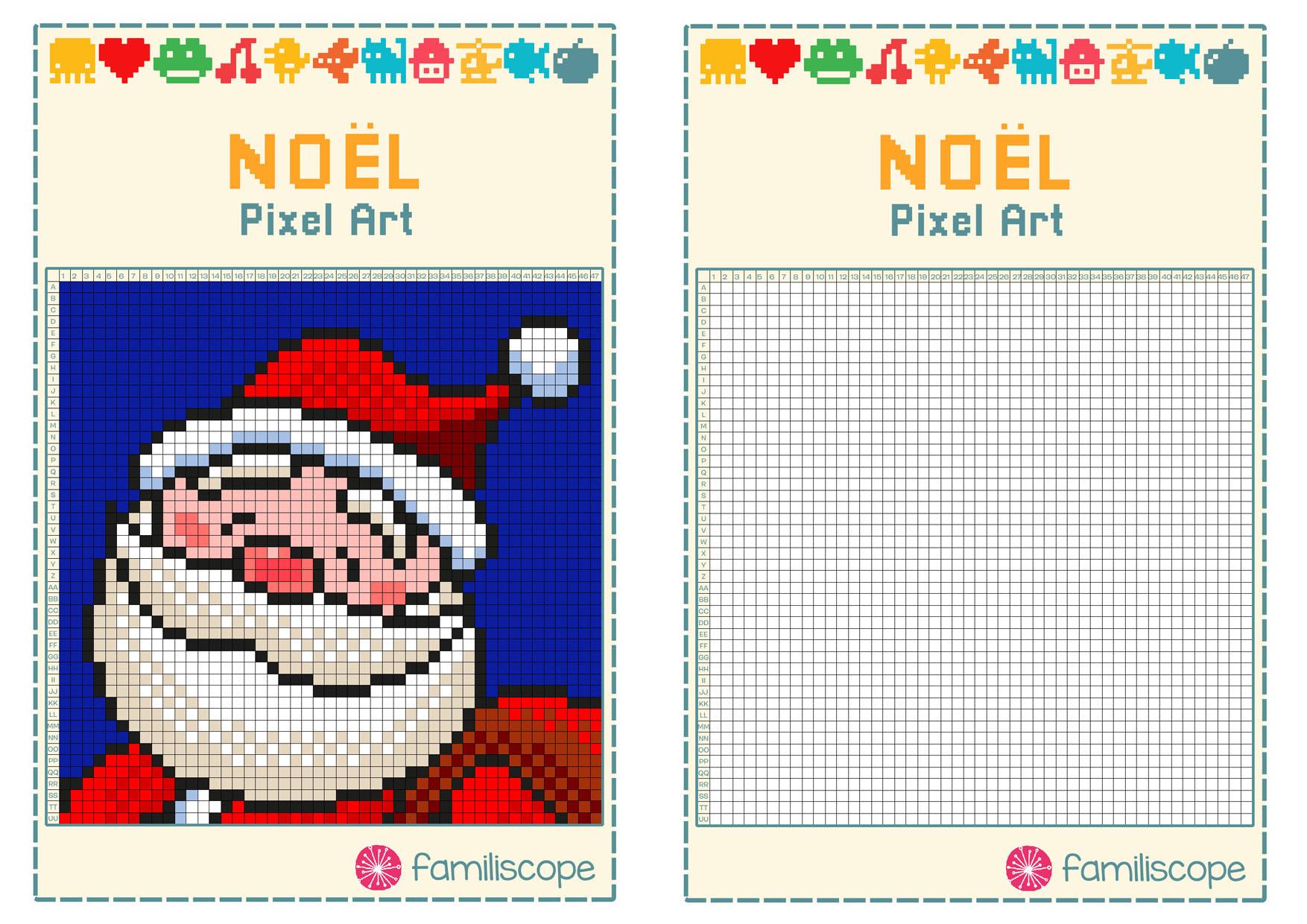 Pixel Art Noël : Tête De Père Noël serapportantà Pixel Art Pere Noel