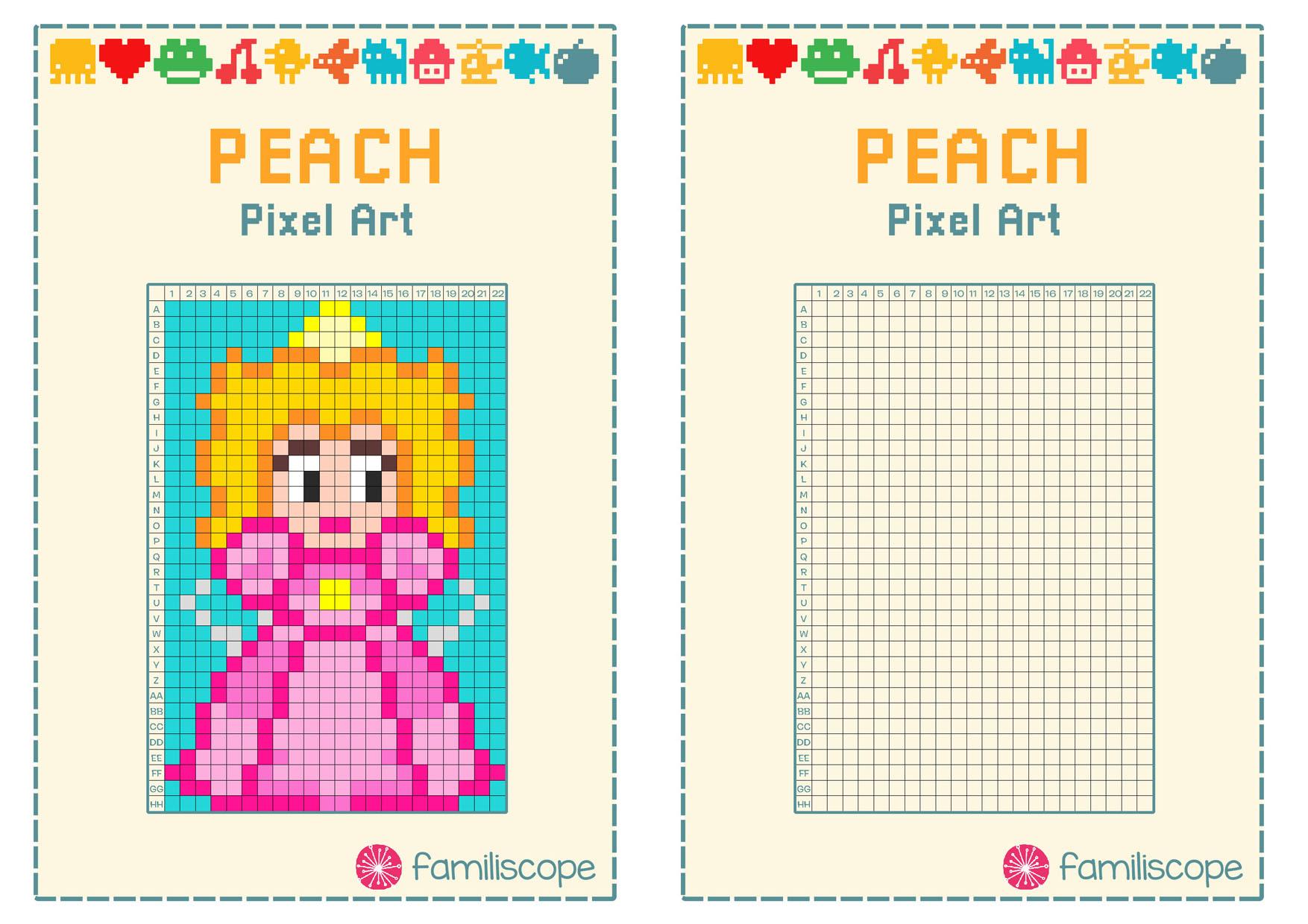 Pixel Art Peach destiné Pixel A Colorier