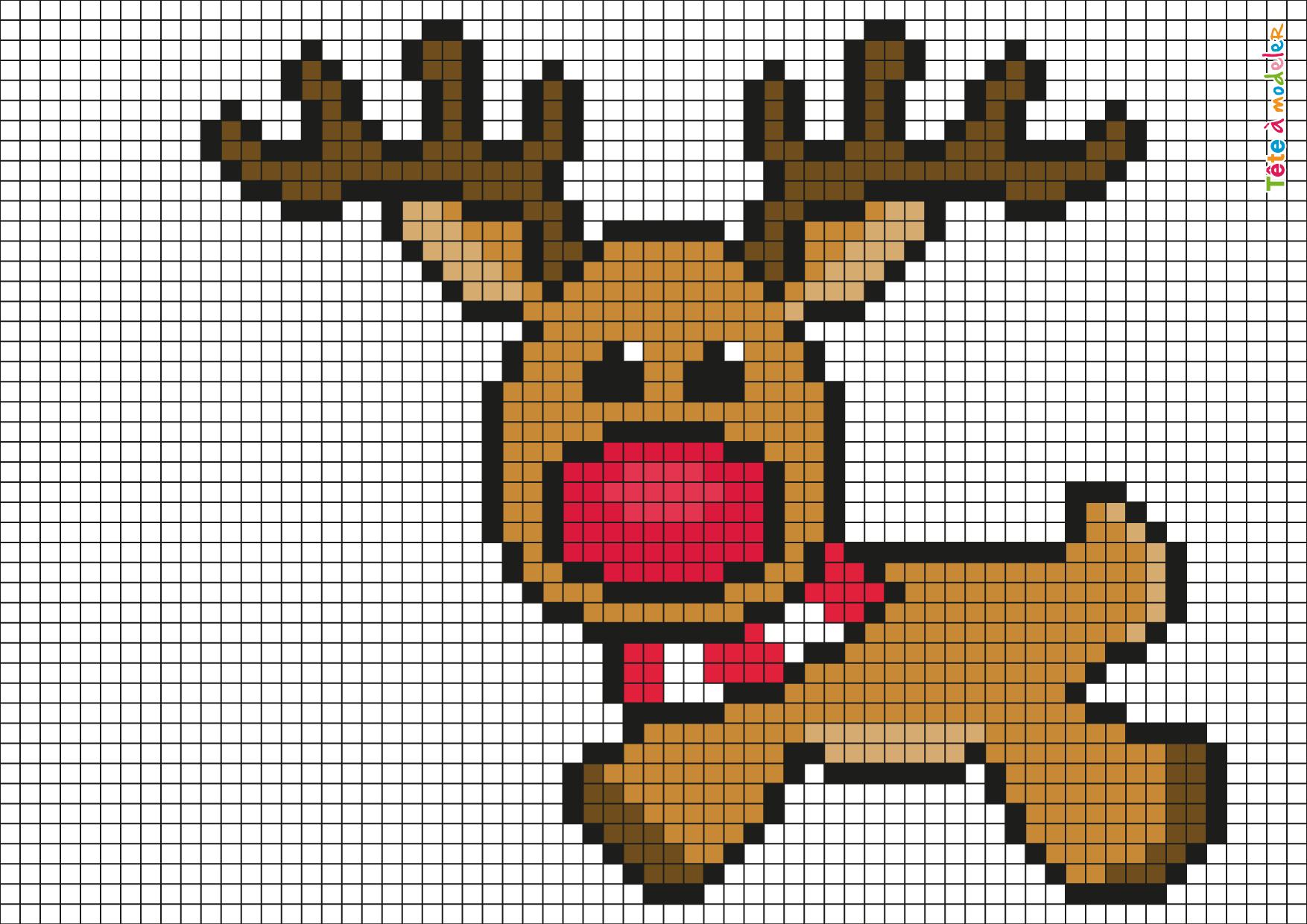 Pixel Art Renne De Noël Par Tête À Modeler serapportantà Pixel A Colorier