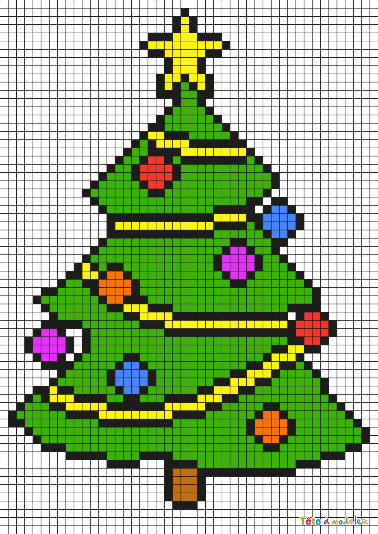 Pixel Art Sapin De Noël Par Tête À Modeler serapportantà Pixel Art De Noël