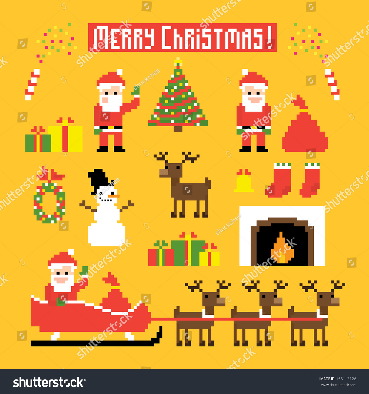 Pixel Art Set Icons Santa Deers Stok Vektör (Telifsiz) 156113126 dedans Pixel Art De Noël
