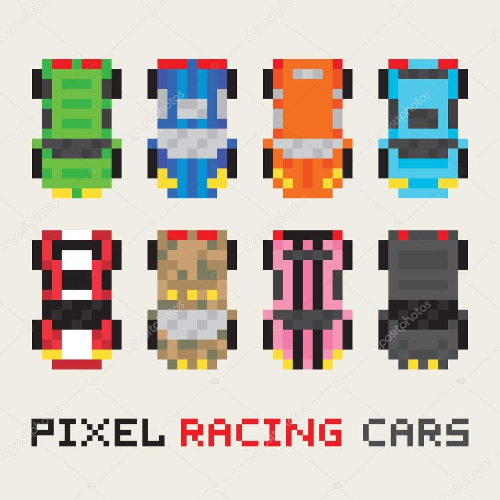 Pixel Art Style Racing Cars Vector Set — Stock Vector dedans Voiture Pixel Art