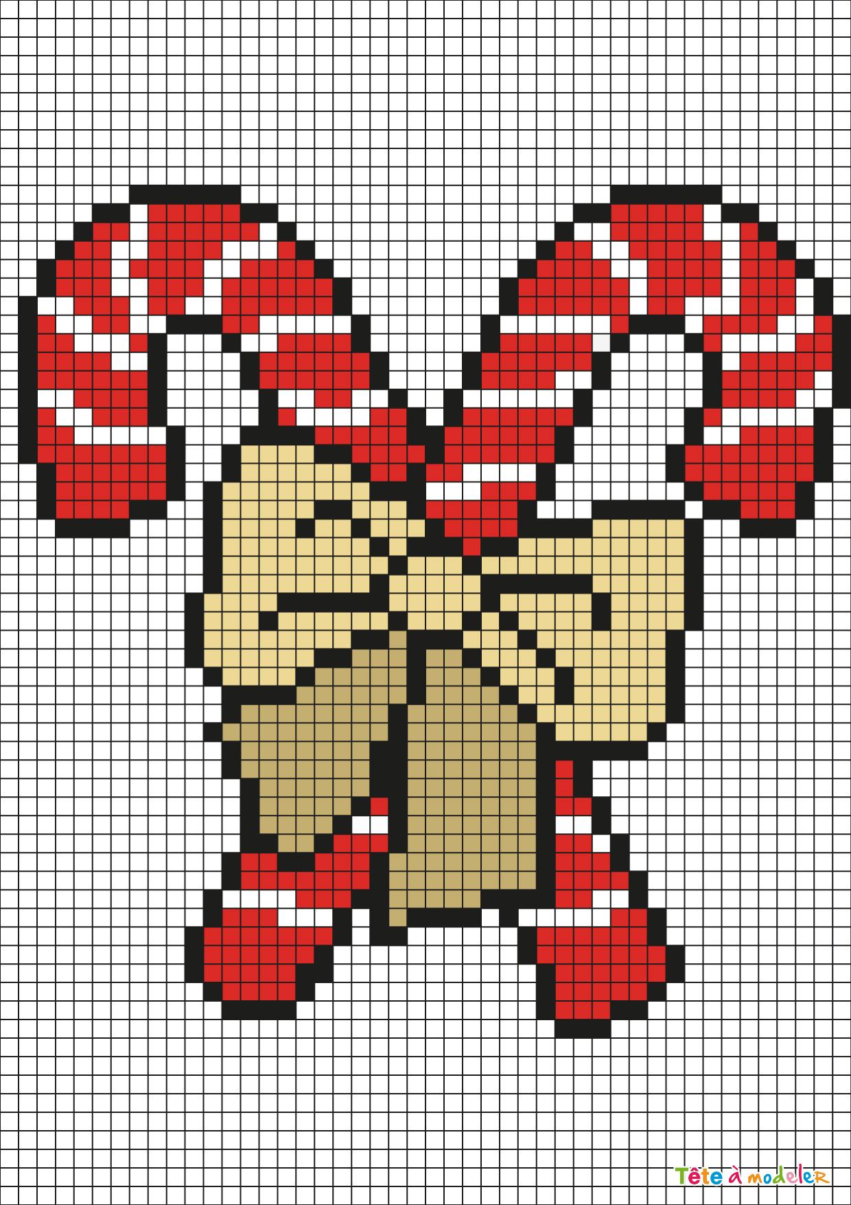 Pixel Art Sucre D'orge Par Tête À Modeler destiné Pixel Art Pere Noel
