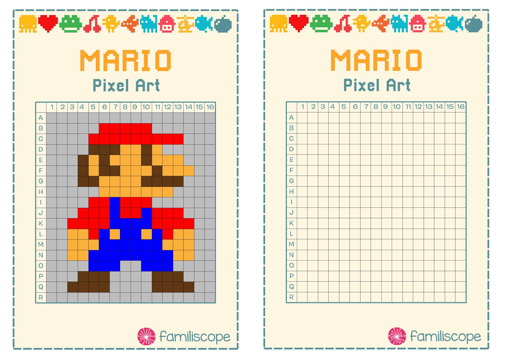 Pixel Art Super Mario pour Pixel A Colorier