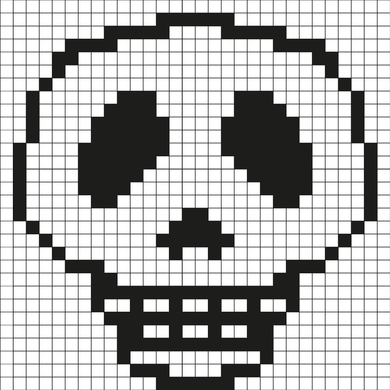 Pixel Art Tête De Mort Par Tête À Modeler concernant Coloriage Pixel Gratuit