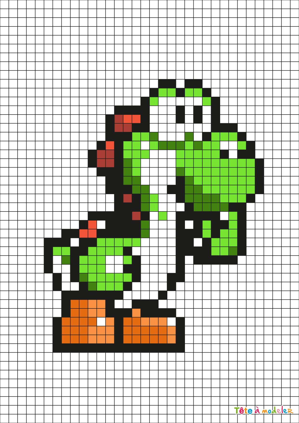 Pixel Art Yoshi Dinosaure Par Tête À Modeler intérieur Jeu De Coloriage Pixel