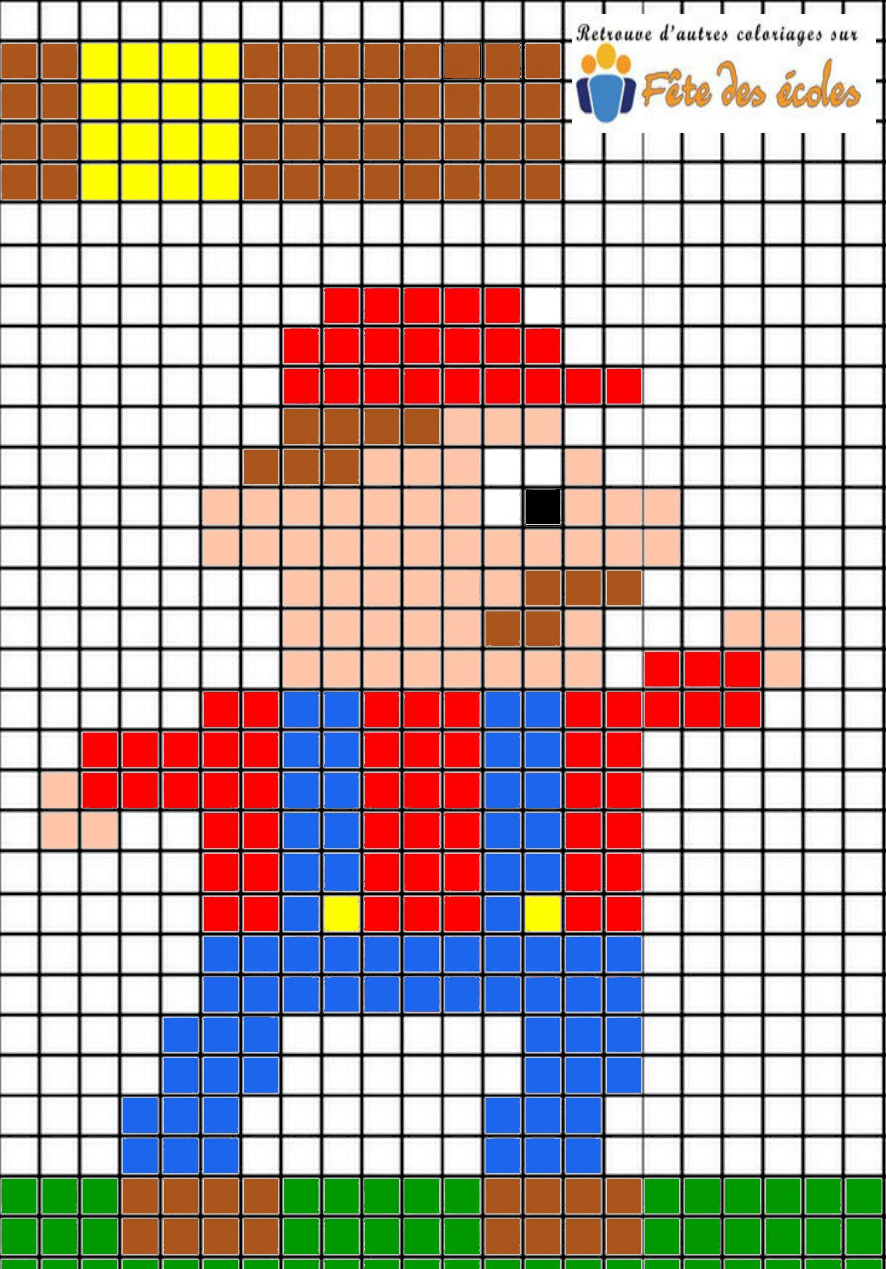 Pixel Personnage De Jeu Vidéo à Jeu De Coloriage Pixel