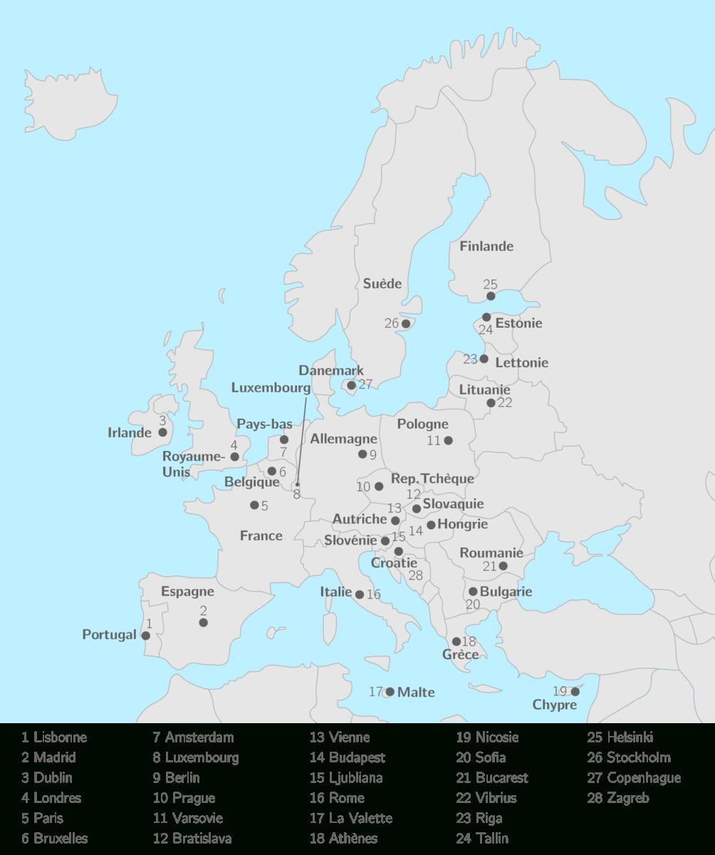 Placer Sur La Carte Les 28 États De L'union Européenne Et à Carte Europe Avec Capitale