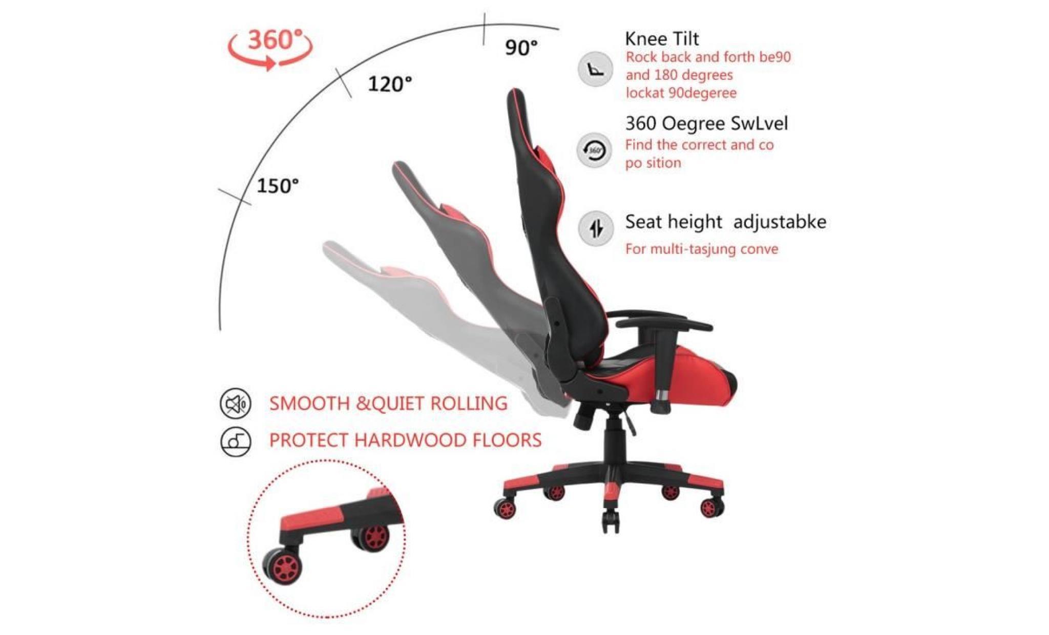 Plaisir Ultime Pour Vous ~ Chaise De Jeu Avec Rotation De 360 Degrés  Fauteuil De Bureau Rouge à 90 Degrés Jeux