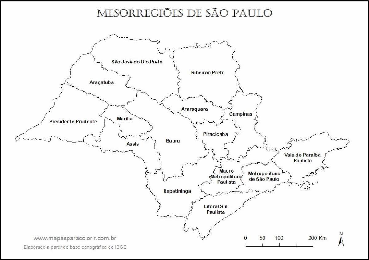 Plan São Paulo Vierge - Noms Régions - Carte São Paulo serapportantà Carte Des Régions Vierge
