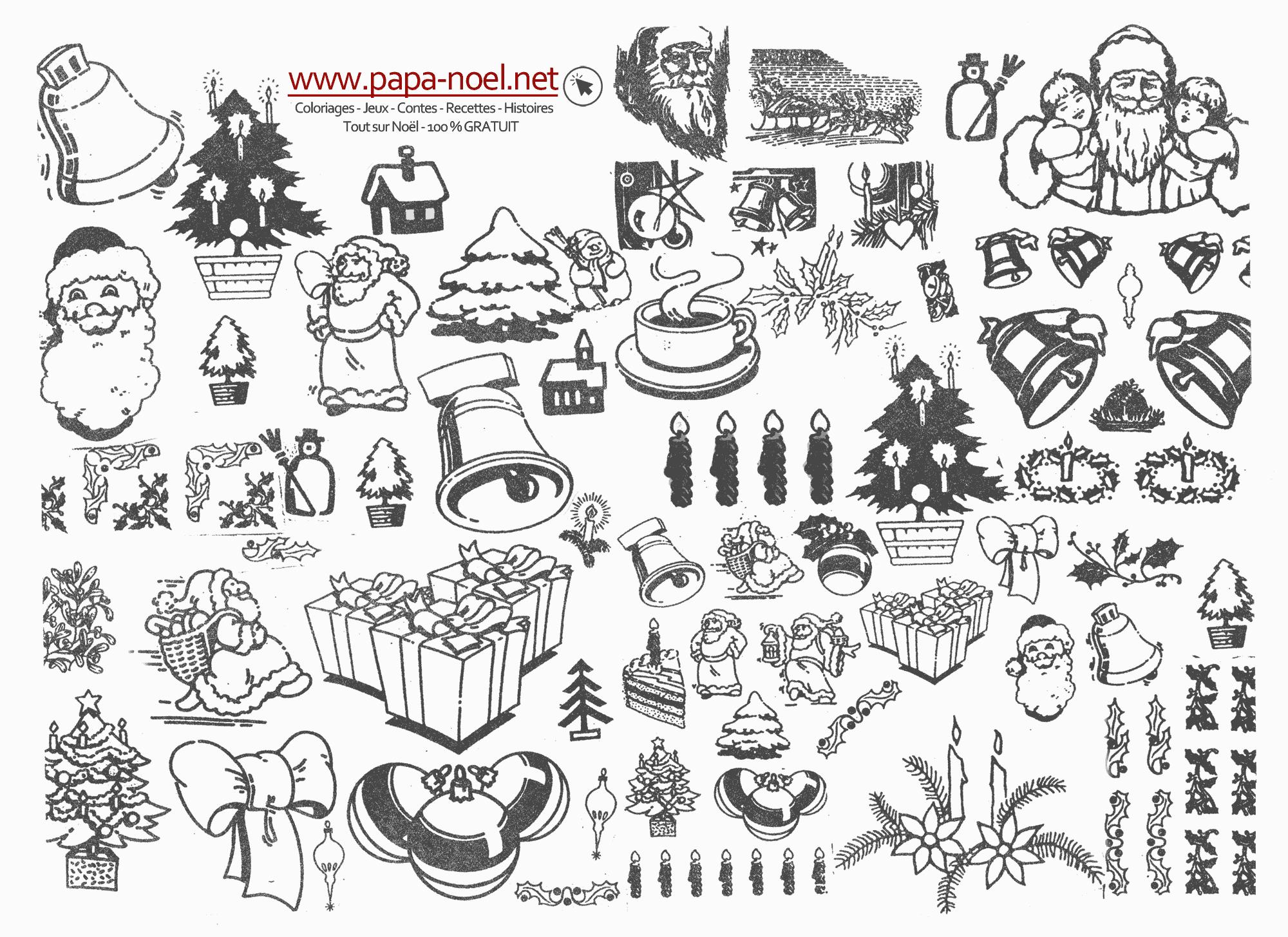 Planche De Coloriage De Noël Vintage À Imprimer & Découper tout Dessin A Decouper
