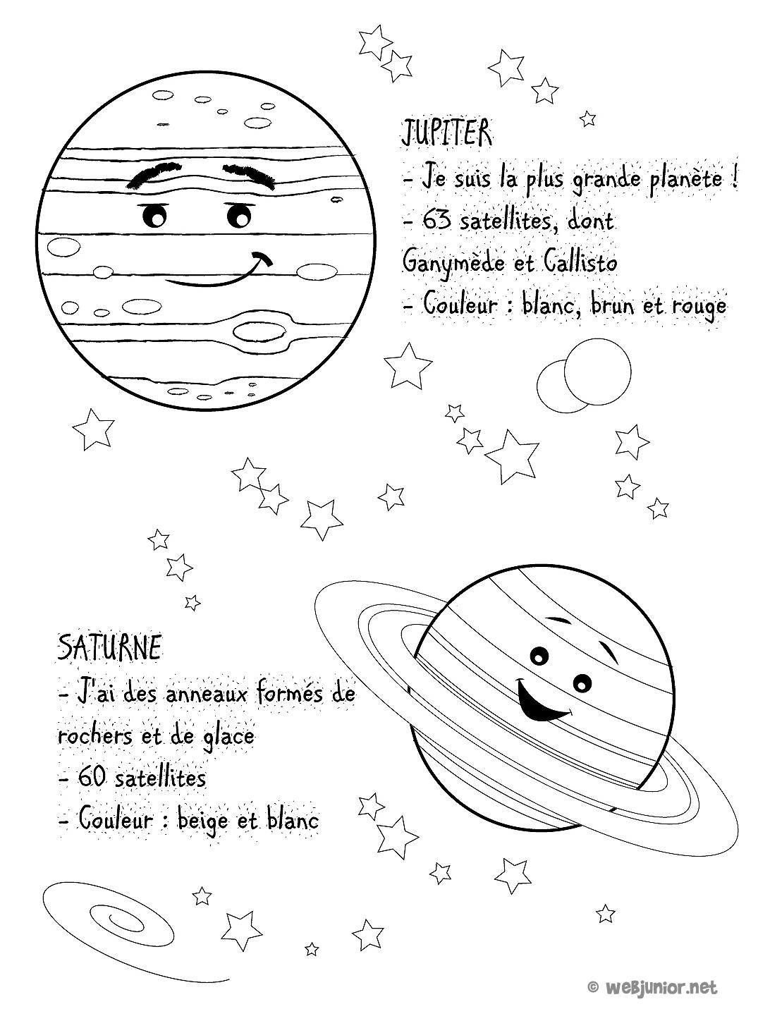 Planètes : Jupiter Et Saturne : Coloriage Sciences Gratuit pour Saturne Dessin