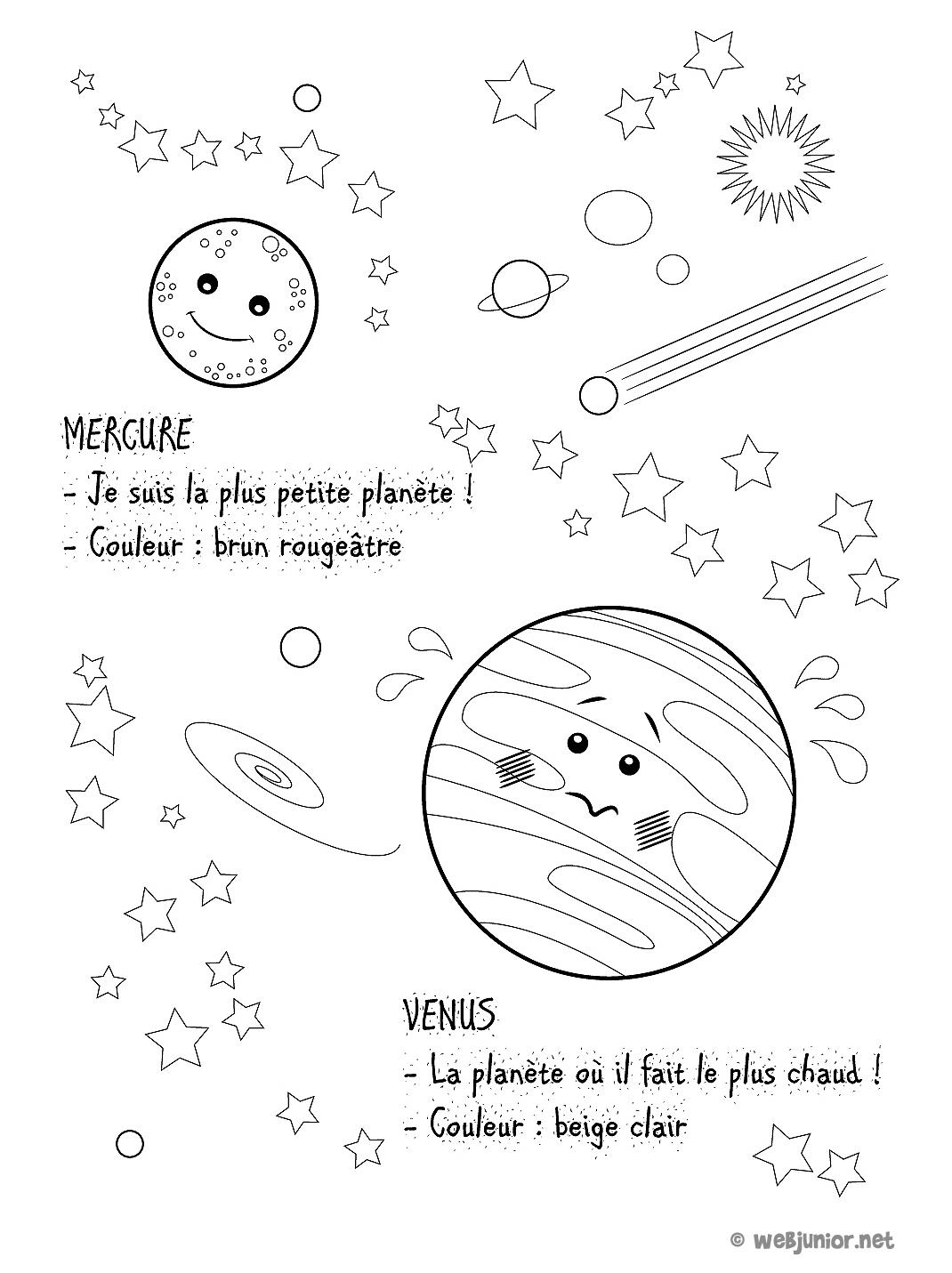 Planètes : Mercure Et Vénus : Coloriage Sciences Gratuit Sur dedans Dessin Du Système Solaire