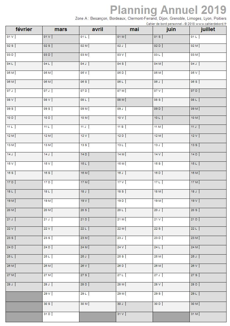 Planning Annuel 2018-2019 (Août-Juillet) - Cahier De Bord concernant Planning Annuel 2018