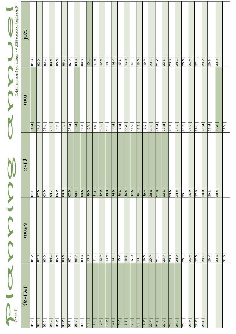 Planning Annuel 2018-2019 (Septembre-Juin) - Cahier De Bord tout Planning Annuel 2018