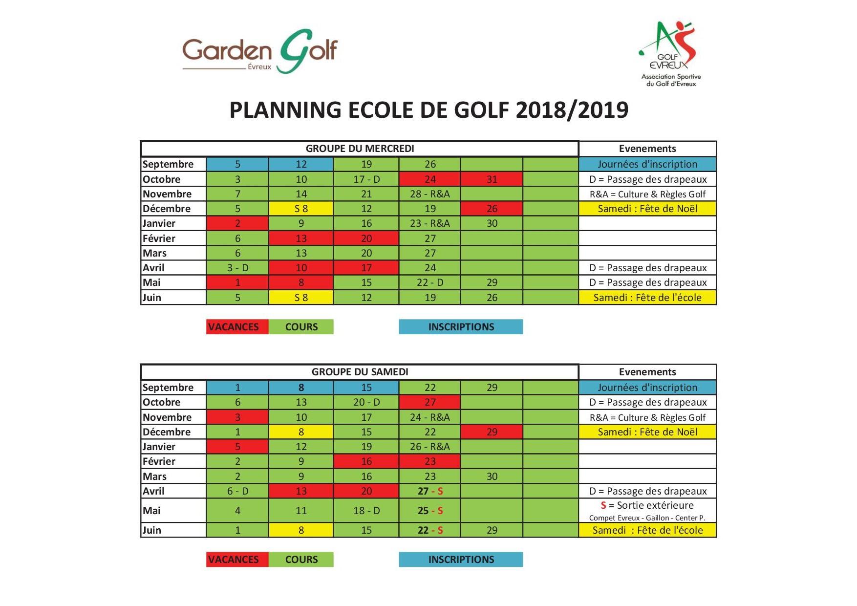 Planning Annuel Edg 2018-2019 - Golf Evreux tout Planning Annuel 2018