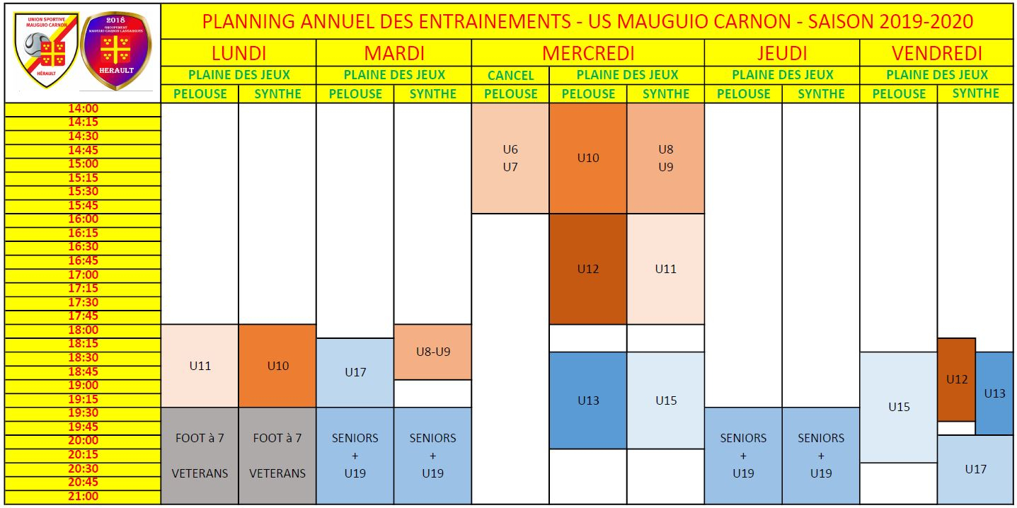 Planning Annuel Entraînements 2019-2020 - Club Football Us dedans Planning Annuel 2018