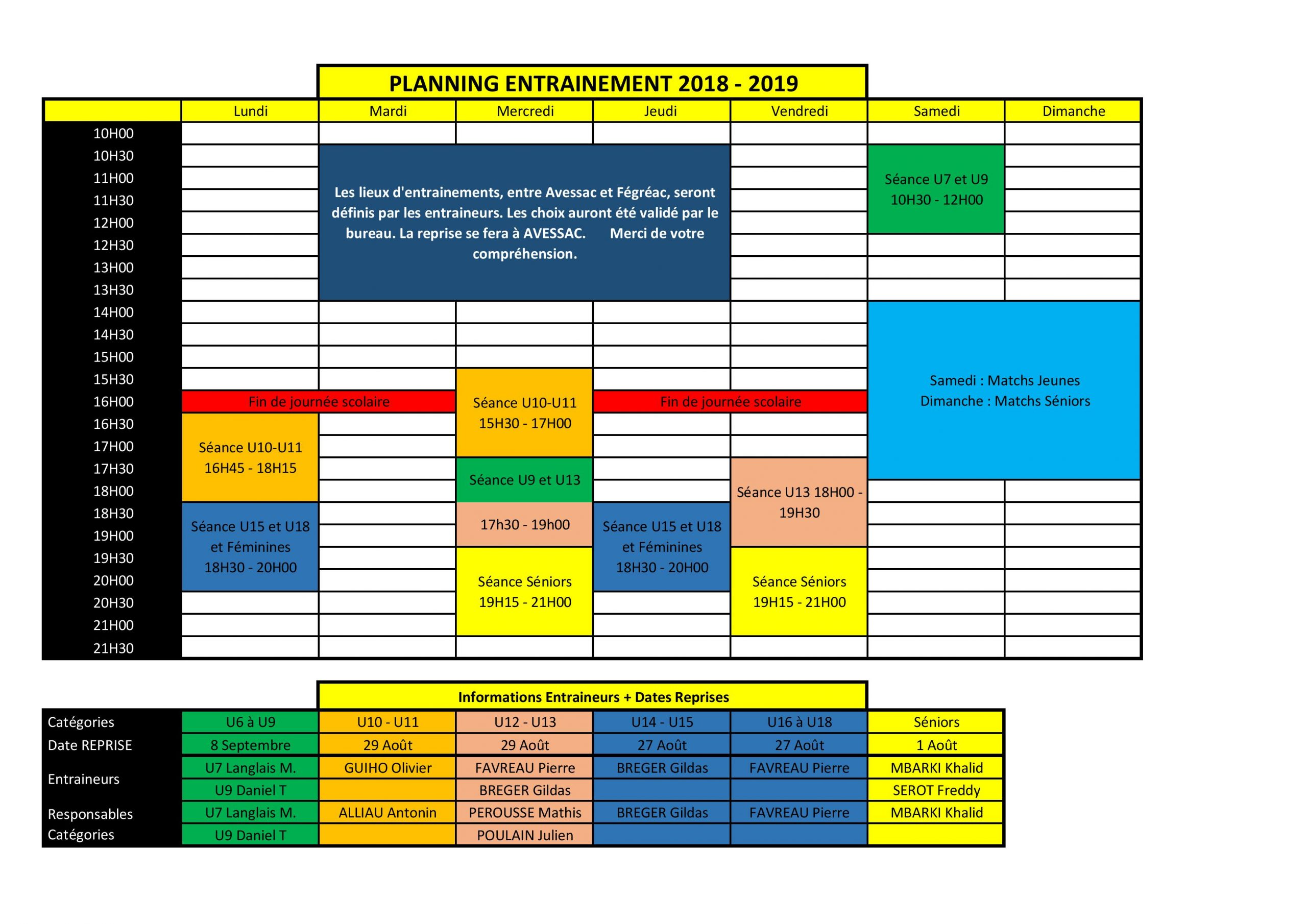 Planning Entrainement Annuel 2018-2019 - Club Football serapportantà Planning Annuel 2018