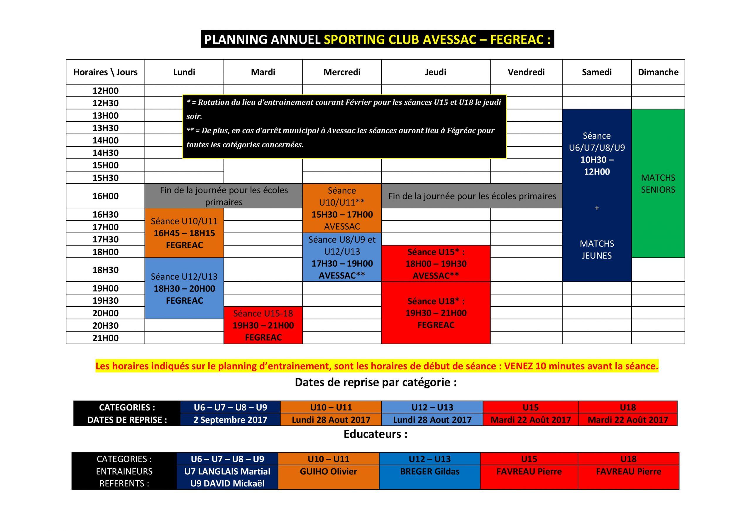 Planning Entrainement Annuel Des Jeunes. - Club Football tout Planning Annuel 2018