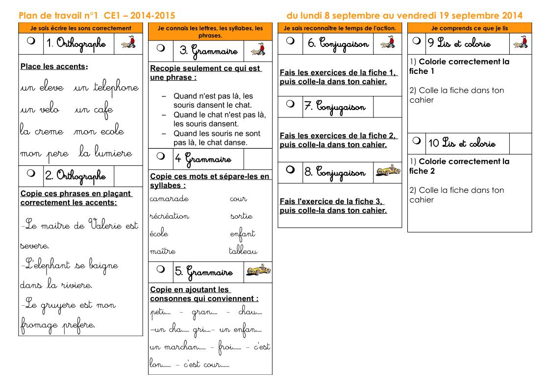 Plans De Travail Ce1 2014-2015 - Zaubette pour Reproduction Sur Quadrillage Ce1